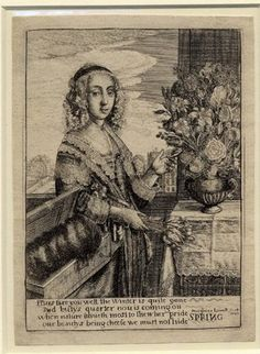 Spring by Peregrine Lowell after Hollar in reverse.  1647  Etching