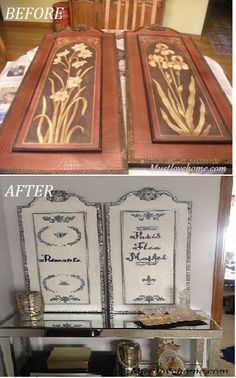 Amazing transformation of old board pictures to French shutters!