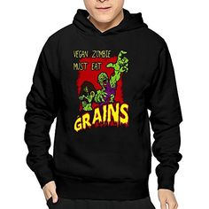 BLAN Mens Vegan Zombie Valentines Gifts Halloween Hoodie Black >>> Be sure to check out this awesome product.