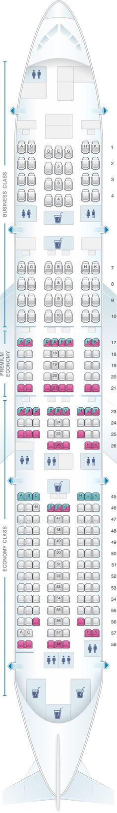 Seat Map Japan Airlines (JAL) Boeing B777 200ER W52/53
