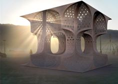 """Temporary plywood """"temple"""" designed for the Burning Man festival."""