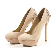 Pre-Owned Brian Atwood Beige Suede Platform With Stones (21,655 INR) ❤ liked on Polyvore featuring shoes, pumps, neutral, beige pumps, platform shoes, beige suede pumps, high heel platform shoes and high heel court shoes