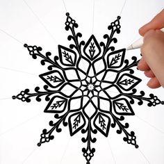 Black and white satisfying Geometric Drawing, Mandala Drawing, Human Drawing, Drawing Practice, Drawing Art, Pattern Illustration, Digital Illustration, Beginner Henna Designs, Simple Mandala
