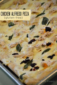 Chicken alfredo pizza can now be made gluten-free! Don't worry though, this easy dinner is delicious enough for the whole family to enjoy whether gfree or not. Homemade alfredo sauce with a secret ingredient really makes this pizza a hit. Fresh basil, sundried, parmesan and rotisserie chicken together make this pizza sing! www.glutenfreefrenzy.com