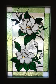 Magnolia Blossoms - Delphi Artist Gallery - Magnolia Blossoms – Delphi Stained Glass / reminds me of my grandma - Stained Glass Paint, Stained Glass Flowers, Stained Glass Designs, Stained Glass Panels, Stained Glass Projects, Stained Glass Patterns, Leaded Glass, Mosaic Patterns, Glass Door