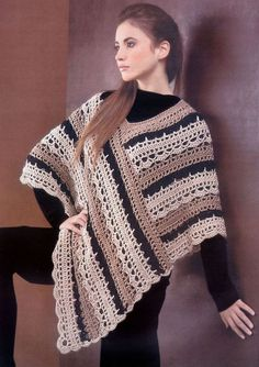 Striped Poncho By Crochet-Atelier - Free Crochet Pattern - (ravelry)