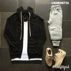 Today's top #outfitgrid is by @hamish726. ▫️#RickOwens #Drkshdw #Hoodie ▫️#AlexanderWang #Tee ▫️#Zara #Joggers ▫️#Nikelab #AirMax1