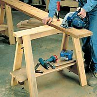Every shop can use a sawhorse or two and every woodworker can make them with free sawhorse plans that are simple to build and will be some of the most frequently used tools in your garage or shop. Woodworking Projects Plans, Diy Woodworking, Sawhorse Plans, Used Tools, Picnic Table, Plywood, Wood Projects, How To Plan, Outdoor Decor