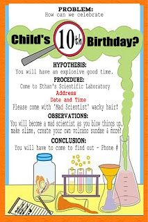 Creative and Cheap - Fun and Fabulous: Mad Science Party: The Cool Invite