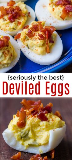 The Best Deviled Eggs with Bacon - Recipe, The Deviled Eggs recipe everyone will ask for! The crunchy dill pickles and crispy bacon topping make these irresistible. Bacon Recipes, Appetizer Recipes, Appetizers, Cooking Recipes, Recipes With Eggs, Recipes With Egg Easy, Devil Egg Recipe Easy, Soup Recipes, Salad Recipes