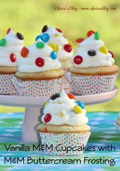 Vanilla M&M Cupcakes with M&M Buttercream Frosting - #Recipe  These are a MUST HAVE for your next celebration!! . http://africasblog.com/2015/08/02/m-and-m-cupcakes-recipe/