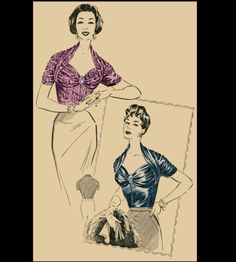 Vintage Sewing Pattern 1950's Ladies' French Draped Blouse Print at Home Depew 3007. $7,50, via Etsy.