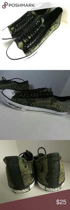 "Ed Hardy Sneakers, sz 13 Mens, VERY NICE! Excellent pair of sneakers by Ed Hardy featuring ""Tattoed For Life"". Army green and black. Ed Hardy Shoes Sneakers"