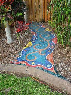 Mosaic walkway - 45 Beautiful DIY Mosaic Garden Path Decorations For Your Landscape Inspiration – Mosaic walkway Mosaic Walkway, Pebble Mosaic, Mosaic Art, Mosaic Glass, Mosaic Tiles, Easy Mosaic, Tiling, Mosaic Madness, Décor Boho