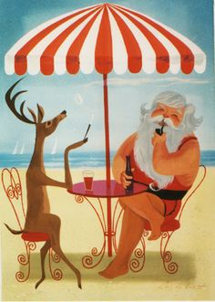 Christmas card art by Ralph Hulett deer santa florida tropical Vintage Christmas Images, Funny Christmas Cards, Retro Christmas, Vintage Holiday, Christmas Art, Christmas Photos, Christmas Humor, Xmas Cards, Christmas Ideas
