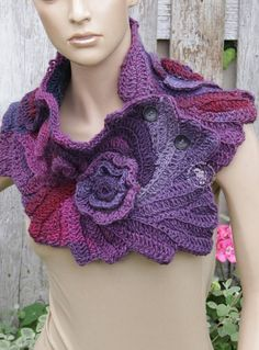 Purple neckwarmer Crochet scarf Chunky cowl Christmas gift for her Bohemian style. Crochet Scarf - Capelet. Unique scarf made Freeform method. Warm and pleasant to the touch. Beautiful unique design. Color: schadows purple pink One of a kind lenght about 87/22 cm 34,25/8,66 Size: One size