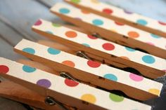 Polka Dot Clothespin Magnets (Set of 5) Clothespin Magnet - CCNdesigns