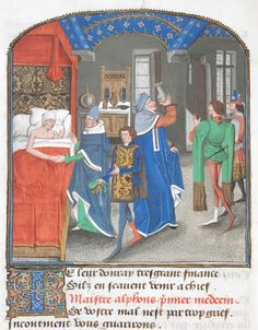 From the Medieval Manuscripts blog post 'Medieval Drama Acquired by the British Library'. Image: Mystère de la Vengeance by Eustache Marcadé, Bruges, c. 1465.