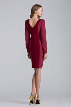 Long Sleeves Julie Vino Midi Evening Dress, Bordeaux