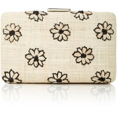 KAYU Daisy Clutch ($205) ❤ liked on Polyvore featuring bags, handbags, clutches, neutral, white clutches, raffia clutches, raffia handbags, kayu and embroidered purse