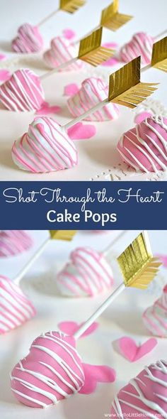 Shot Through the Heart Cake Pops! These easy to make heart-shaped cake pops are a super cute Valentine's Day treat! | Hello Little Home