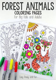 Forest Animals Coloring Pages Ready to take a colorful walk in the forest! Grab these forest animals coloring pages for adults and if you l. Coloring Pages For Grown Ups, Free Adult Coloring Pages, Animal Coloring Pages, Coloring Pages To Print, Colouring Pages, Printable Coloring Pages, Coloring Sheets, Coloring Pages For Kids, Coloring Books