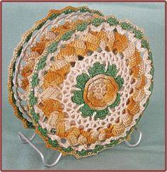 1950's Kitsch Irish Yellow Rose Crochet Napkin Holder
