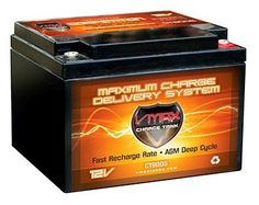 VMAX800S AGM Deep Cycle Battery Replacement for Lectronic Kaddy Dyna Steer 12V 28Ah Golf Cart Battery