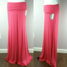 Coral Maxi Skirt Coral Maxi skirt with a fold-over waist. Skirts Maxi