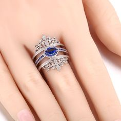 Gorgeous Dark Blue CZ Double Crowns Sterling Silver Ring