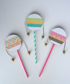 DIY Spin Drum for Kids Birthday Parties spin drum diy with washi tape DIY Spin Drum fo Preschool Crafts, Diy Crafts For Kids, Fun Crafts, Arts And Crafts, Kids Diy, Party Crafts, Kids Craft Projects, Preschool Music Activities, Recycled Crafts Kids