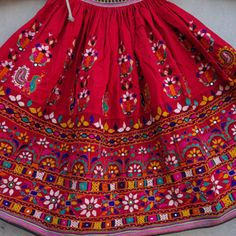 Fine upcycled textile creations by ArtisanOfRajasthan from Rajasthan, India Hand Work Embroidery, Indian Embroidery, Hand Embroidery Designs, Skirt Embroidery, Garba Dress, Navratri Dress, Navratri Garba, Kutch Work Designs, Upcycled Textiles