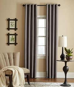 Add immediate drama, color, elegance to bedroom, dining room, living room with classic, textured 100% linen curtains with dark bronze metal grommets.