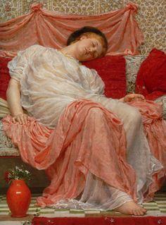 "Albert Joseph Moore (1841-1893)  Jasmine  Oil On Canvas    66 x 50 cm  (25.98"" x 19.69"")"