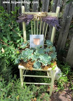 The garden chair with a framed poem for guests to discover.