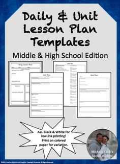 This set includes a Daily Lesson Plan Template and a Unit Plan Template.  Both are fully editable.Daily plan template allows inclusion of standards, objectives, program of studies, daily activities, bellringers, exit slips, modifications and more.Adaptable 15 day unit plan allows for daily activities, core content listing, objectives, essential questions, and so much more.