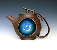 Kazem Arshi - Ceramic artist. Blue Moon Teapot, Handmade Stoneware Teapot. $850.00, via Etsy.