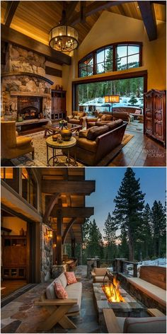 SF Mountain Transitional Lodge on a steep site with limited building area designed to capture views in two directions. Completed Fall Home Plate Lodge, Martis Camp, Lake Tahoe, CA Model Architecture, Rustic Home Design, Rustic Homes, Log Cabin Homes, Cabins, Barn Homes, House Goals, My Dream Home, Future House