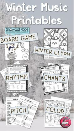 """Winter music worksheets and activities, no-prep, easy general music ed lesson planning/sub worksheets/homeschool music. Includes coloring, Vivaldi's """"Winter"""" listening glyph, printable dynamics game, lot of fun stuff for elementary music class! #sillyomusic"""