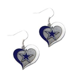 "Dallas Cowboys Women's Swirl Heart Earrings Charm Click The Green ""Buy Now"" Button To Get Yours Now! Dallas Cowboys Gear, Dallas Cowboys Pictures, Dallas Cowboys Football, Cowboys Helmet, How Bout Them Cowboys, Cowboy Gear, Cowboy Outfits, Heart Earrings, Dangle Earrings"