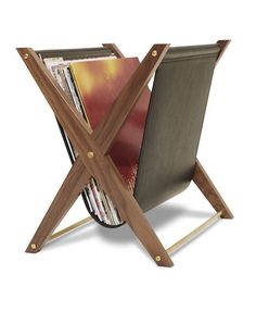 Vinyl furniture: Wood and leather for this storage vinyl Atocha