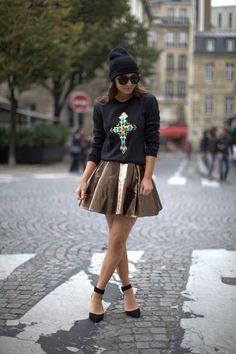 Pop Couture Cross Sweatshirt, Lashes of London Metallic Skater Skirt, Zara Beanie & Heels