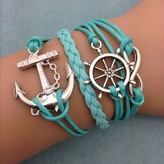 Teal Anchor & Wheel Infinity Bracelets $8 http://www.sixshootergiftshop.com/collections/multiple-stranded-bracelets/products/teal-anchor-wheel-infinity-bracelet
