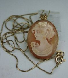 14K GOLD NECKLACE & PENDANT W/ DOUBLE SIDED CAMEO : Lot 173