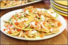 LOOK! It's recipe mash-ups: Buffalo Nachos & Salad Pizza.  Pin away, PEOPLE!