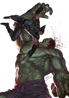 """#Hulk #Fan #Art. (Hulk vs Wolverine) By: In-Hyuk Lee. ÅWESOMENESS!!!™ ÅÅÅ+ (YOU LOVE ART LIKE THIS SHOWN ABOVE FROM OUR BOARD--> HULK: LOVE AND WAR?. THEN SIMPLY ADD THIS PIC TO YOUR HULK BOARD, AND TAP THE """"URL"""" ANY TIME YOU WANT TO VISIT: https://www.pinterest.com/ezseek/hulk-1-love-and-war/ (THANKS FOR ADVERTISING: HERO WORLD!)"""
