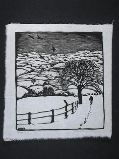 January  -  Wharton Esherick - woodcut - Image size: 9 1/4 x 8 1/4; Paper size: 10 1/2 x 9 7/8 1923