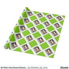 Art Deco One Green Pattern Wrapping Paper by Janz