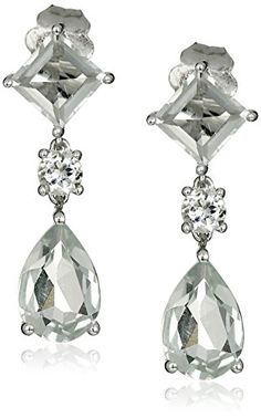 14k White Gold Pear and Square Shaped Green Amethyst Dangle Earrings ** Want additional info? Click on the image.