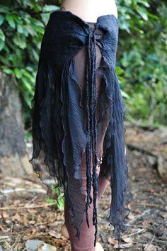 felted tie skirt. over leggings. Love the raggety edges.